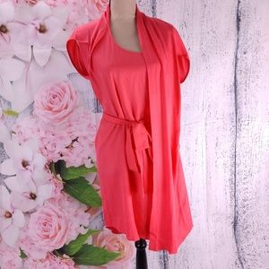 Halston Heritage Coral Tie Waist Shift Dress Drape
